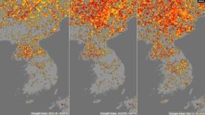 米海洋大気庁が作成した2019年4月後半から5月第2週にかけての朝鮮半島周辺の干ばつ指数マップ(同庁=VOA)