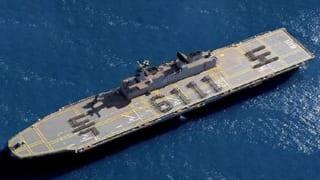 韓国海軍の大型輸送艦「独島艦」(韓国海軍提供)