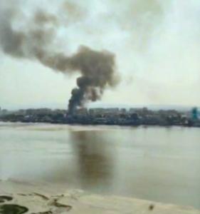 9日に発生した、北朝鮮・新義州での大規模火災(RFA提供)