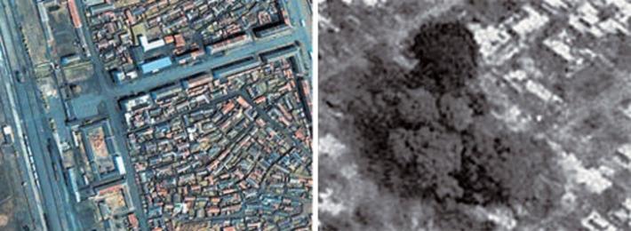 龍川駅周辺。左は03年5月、右は04年4月22日の事故18時間後